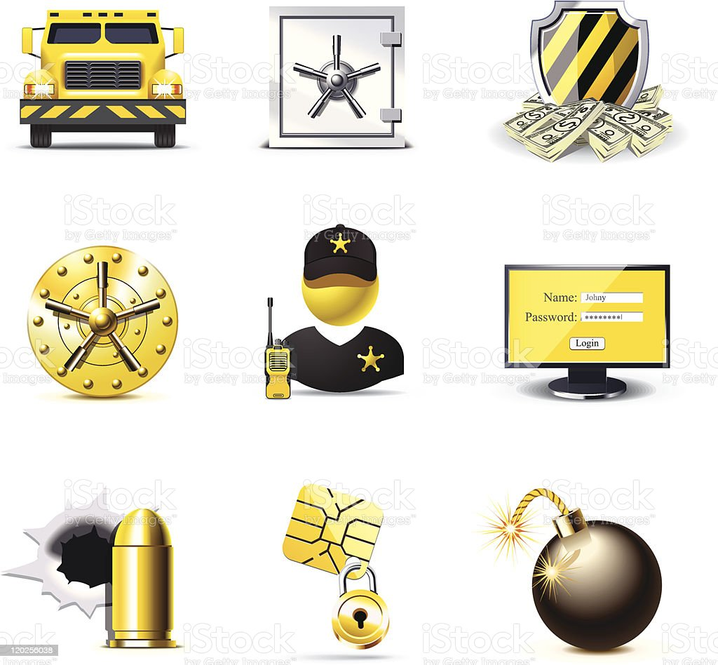 Bank security icons | Bella series vector art illustration
