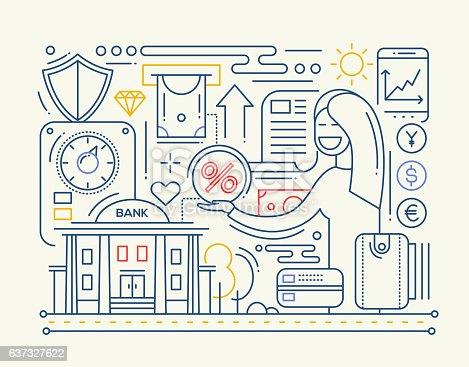 Bankdienstleistungen Linie Design Zusammensetzung Vektor ...