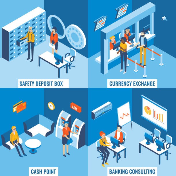 Bank services vector flat 3d isometric poster set Bank services vector flat 3d isometric poster set. Safety deposit box, currency exchange, cash point and banking consulting concept design elements for web banners, print, infographics. safety deposit box stock illustrations