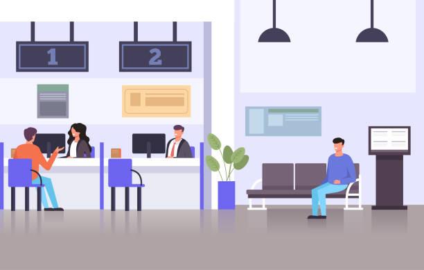 ilustrações, clipart, desenhos animados e ícones de especialistas bancários trabalhadores consultores personagens conversando com os consumidores pessoas. conceito do crédito da banca financeira. ilustração lisa do projeto gráfico do vetor - banco assento