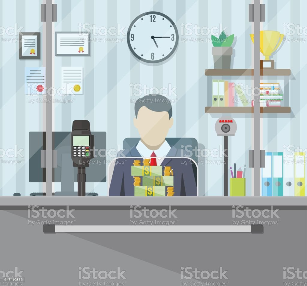 Bank teller behind the window. vector art illustration