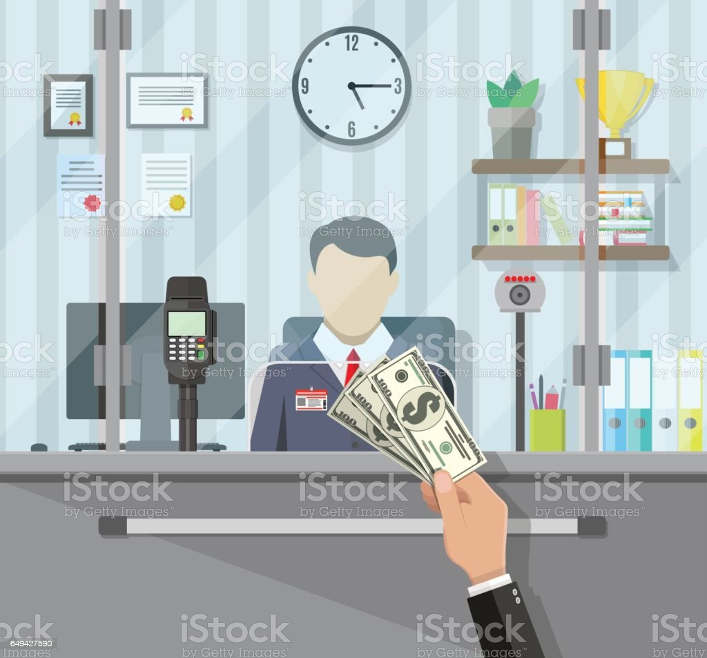 Bank teller behind the window vector art illustration
