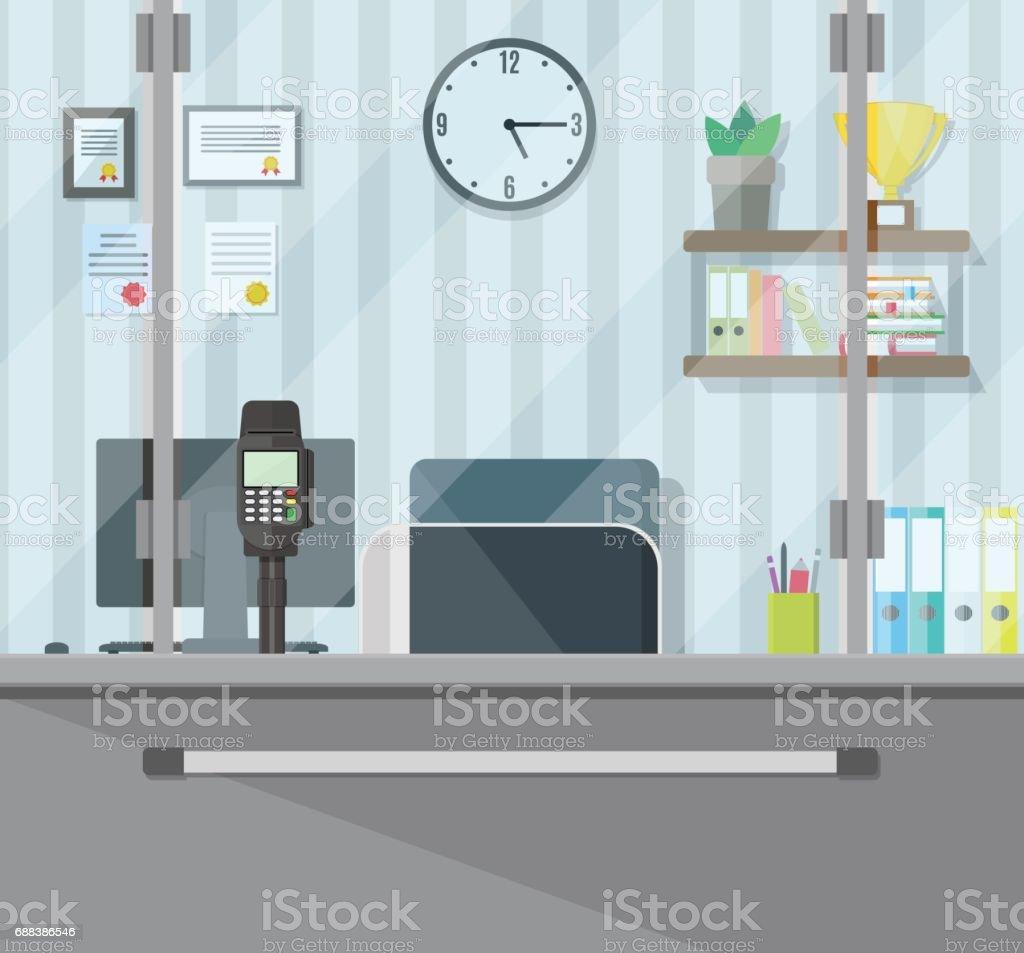 Bank teller workplace vector art illustration