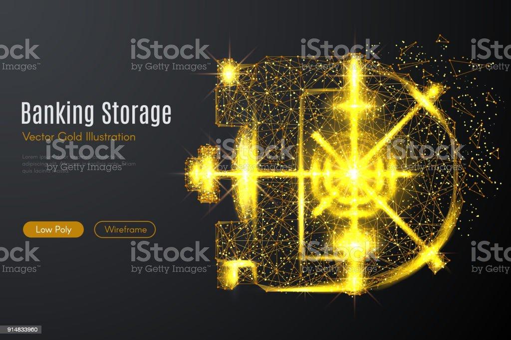 Banque voûte porte basse poly or - Illustration vectorielle