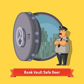 Bank vault room safe door with a officer guard. Opened with money inside. Flat style isometric illustration. EPS 10 vector.