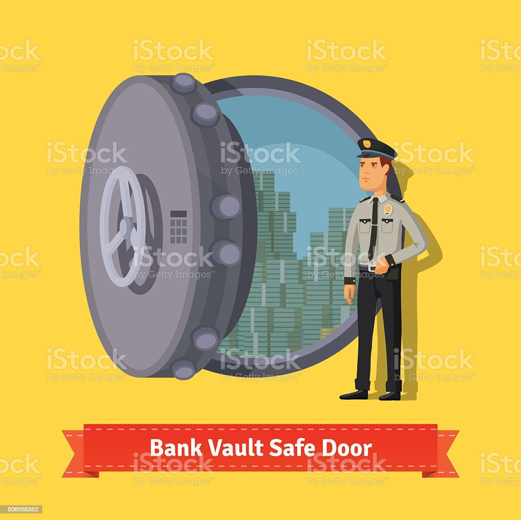 Bank vault room safe door with a officer guard vector art illustration