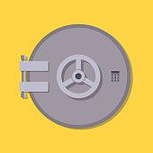 Bank vault safe door. Vector illustration