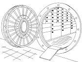 Bank vault safe interior graphic black white sketch illustration vector