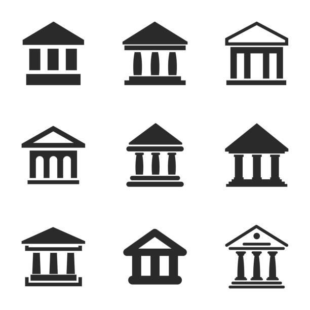 ilustrações, clipart, desenhos animados e ícones de ícones do vetor de banco. - banco edifício financeiro