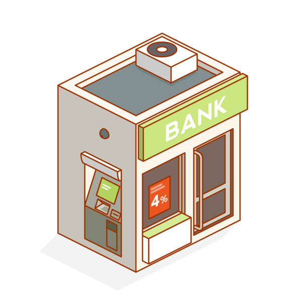 bank bank - isometric banks and atms stock illustrations