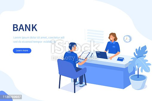 Bank manager and client. Can use for web banner, infographics, hero images. Flat isometric vector illustration isolated on white background.
