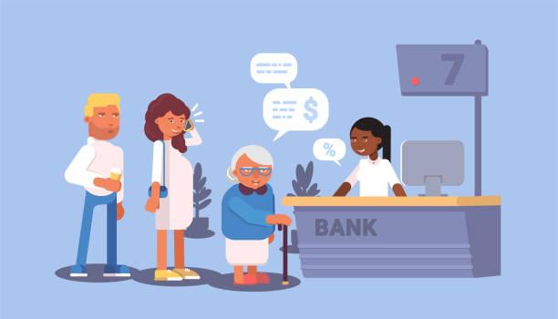 キュー漫画ベクトルイラストの銀行の訪問者 - 窓口点のイラスト素材/クリップアート素材/マンガ素材/アイコン素材