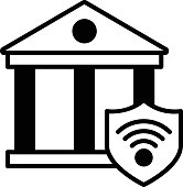 istock Bank Wireless trackers Vector color line Icon Design, Internet of things symbol on white background, IoT and automation stock illustration, Smart building security systems Concept, 1318993861
