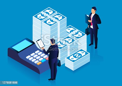 istock Banker accountant, financial and profit calculation, tax financial statistics 1279081856