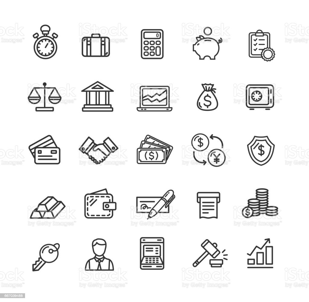 Banking and Accounting Icon Black Thin Line Set. Vector – artystyczna grafika wektorowa