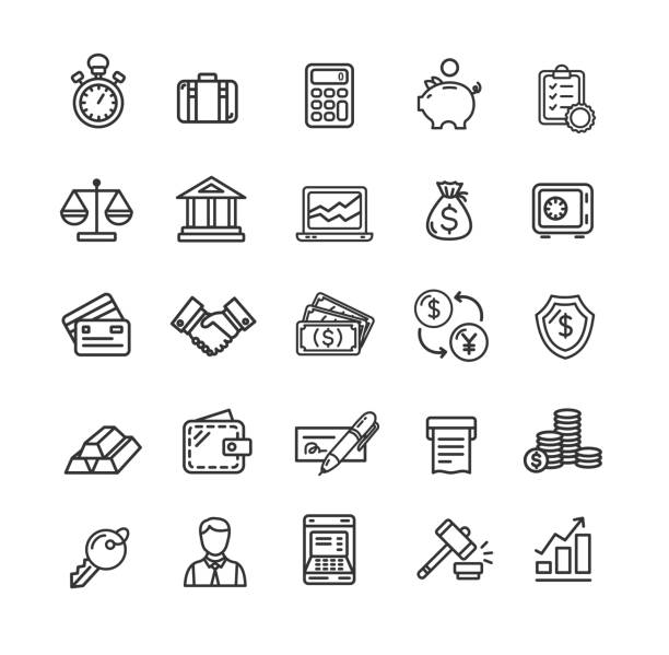 Banking and Accounting Icon Black Thin Line Set. Vector vector art illustration