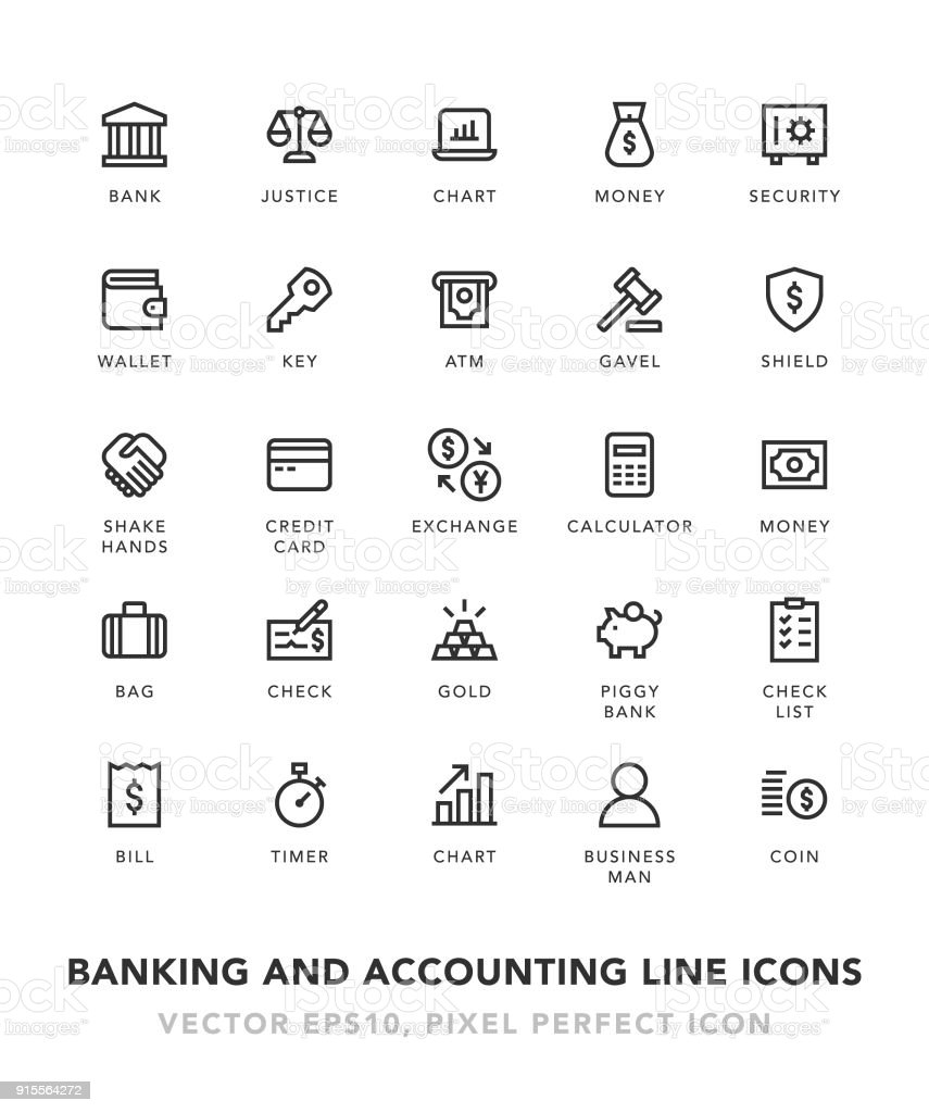 Banking and Accounting Line Icons vector art illustration