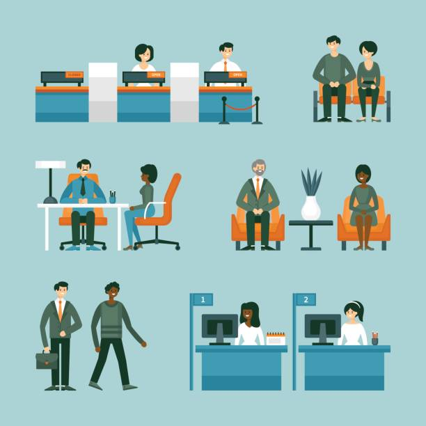 Banking and consulting service concept with character design. Vector illustration vector art illustration