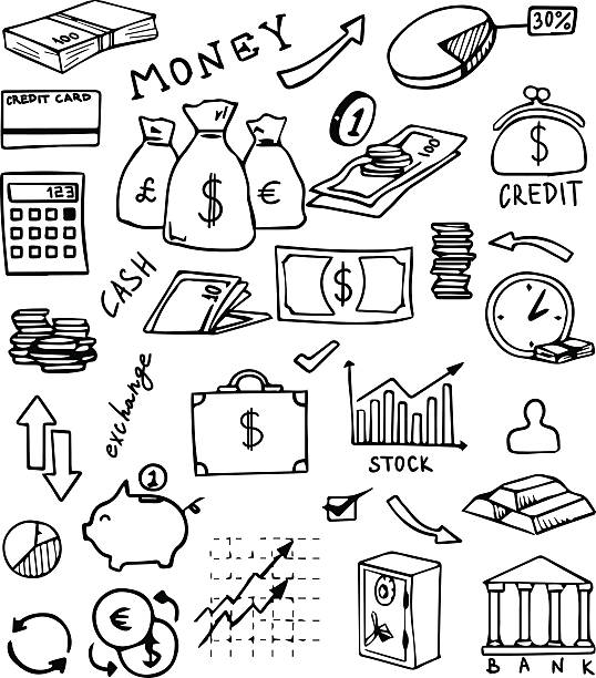 banking and currency hand drawn vector set banking and currency hand drawn icons vector set budget patterns stock illustrations