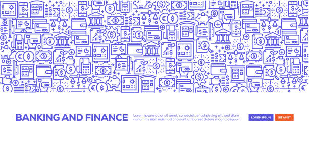 Banking and Finance Banner Banking and Finance Banner banking patterns stock illustrations
