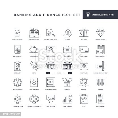 29 Banking and Finance Icons - Editable Stroke - Easy to edit and customize - You can easily customize the stroke with