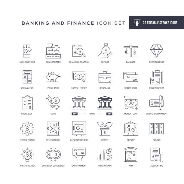 banking and finance editable stroke line icons - bank stock illustrations