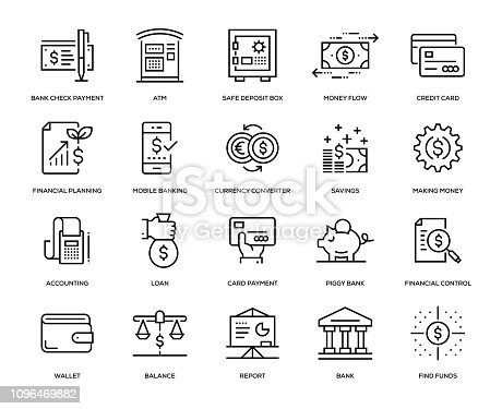 Banking and Finance Icon Set - Thin Line Series