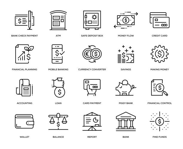 Banking and Finance Icon Set Banking and Finance Icon Set - Thin Line Series safety deposit box stock illustrations