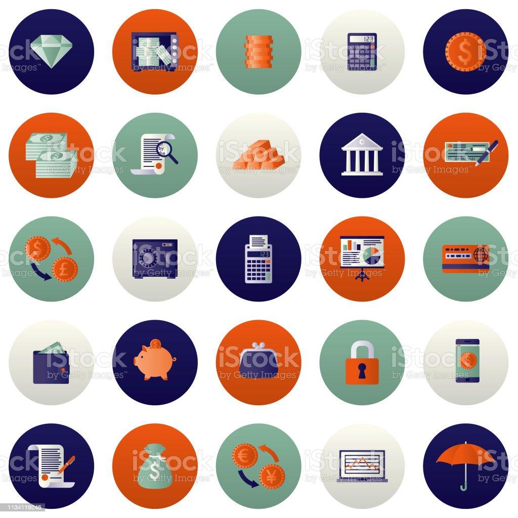 Banking and Finance Icon Set vector art illustration