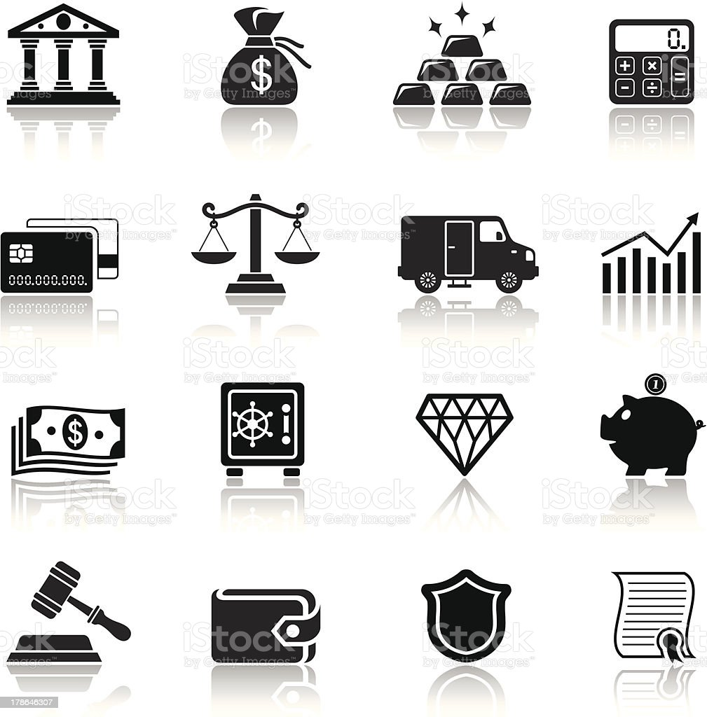 Banking and Finance Icon Set royalty-free stock vector art