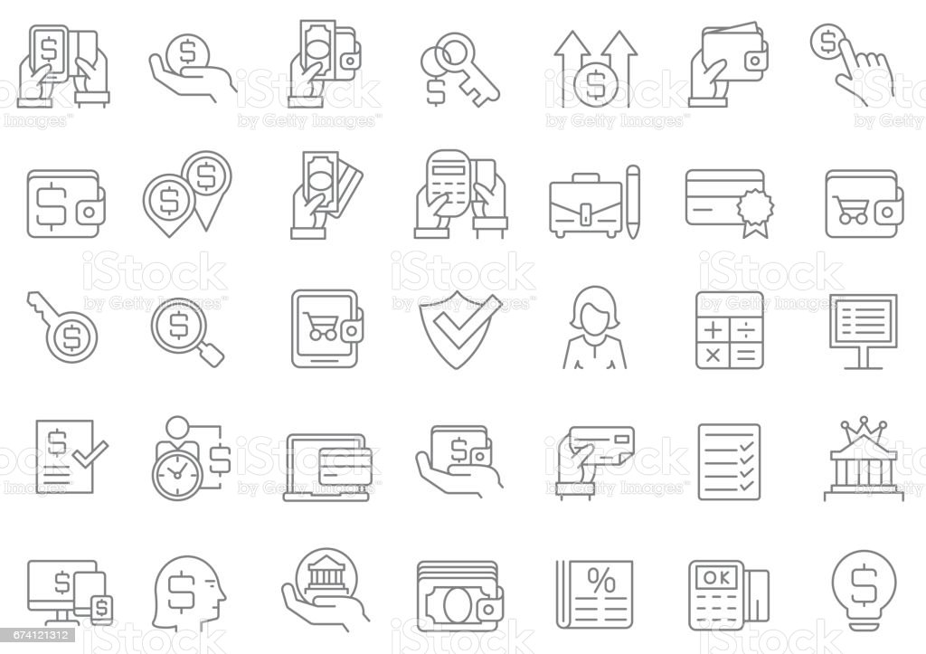 Banking and finance icon set vector art illustration