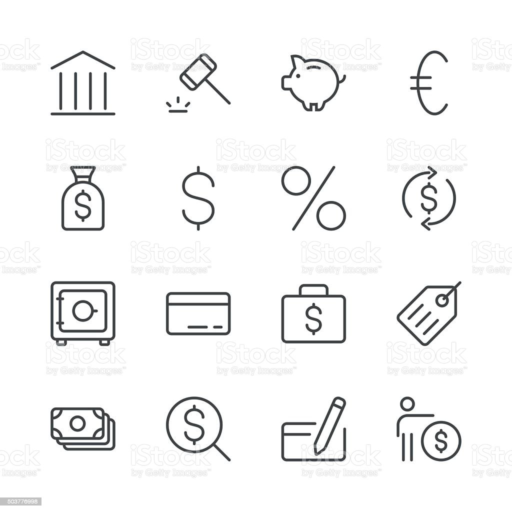 Banking and finance icons set 1 | Black Line series vector art illustration