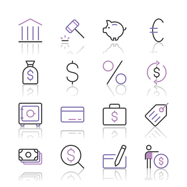Banking and finance icons set 1 | Purple Line series Set of 16 professional and pixel perfect icons ready to be used in all kinds of design projects. EPS 10 file. wall street stock illustrations