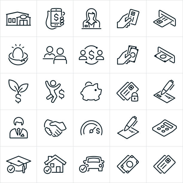 Banking and Finance Icons A set of banking and finance icons. The icons include a bank, credit union, online banking, mobile banking, bank teller, credit card, cash, ATM machine, nest egg, loan officer, investment, savings, piggy bank, savings account, security, check, banker, handshake, goal, agreement, loan, calculator, education, home loan and car loan. nest egg stock illustrations