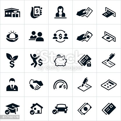 Icons related to the banking service industry. The icons include several symbols associated with banking and financial institutions and include a bank, credit union, mobile banking, bank teller, credit card, ATM machine, money, borrowing, lending, customers, retirement, savings, loans, contracts, agreements and others.