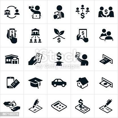 A set of banking and finance icons. The icons include online banking, lending, loans, money, mobile banking, loan approval, bank, credit union, credit card, ATM machine and other related icons.