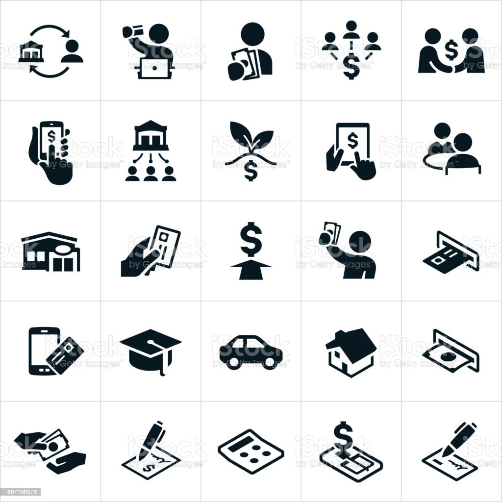Banking and Finance Icons vector art illustration