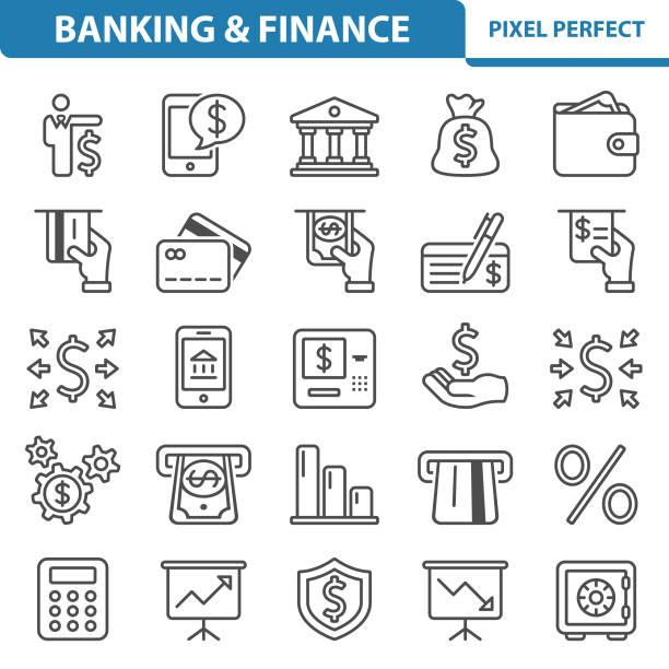 banken und finanzen symbole - geldautomat stock-grafiken, -clipart, -cartoons und -symbole
