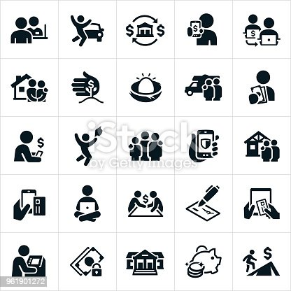 A set of banking icons. The icons include bankers, bank teller, money lending and loans for a car, house, RV and education. They also include money transfer concepts, investments, savings, borrowing, online banking, checking, ATM machine and setting financial goals to name a few.
