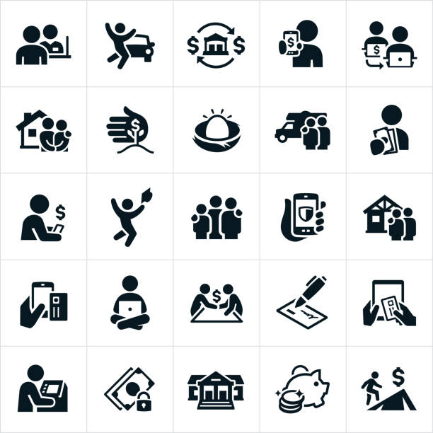 Banking and Finance Icons A set of banking icons. The icons include bankers, bank teller, money lending and loans for a car, house, RV and education. They also include money transfer concepts, investments, savings, borrowing, online banking, checking, ATM machine and setting financial goals to name a few. bank stock illustrations