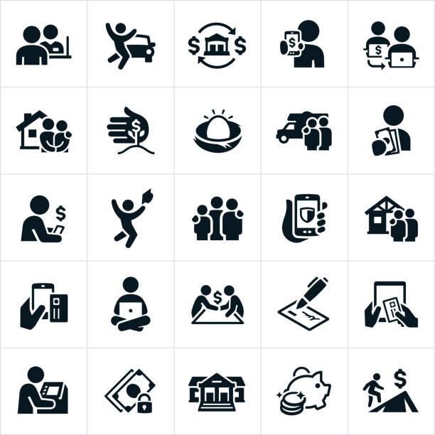 illustrations, cliparts, dessins animés et icônes de icônes banque et finance - tirelire