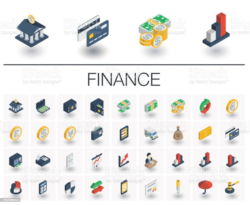 Banking and finance isometric icons. 3d vector vector art illustration