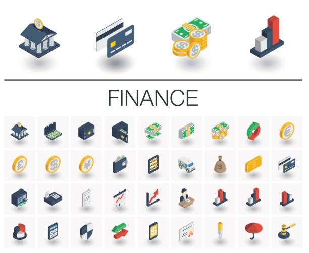 Banking and finance isometric icons. 3d vector Isometric flat icon set. 3d vector colorful illustration with banking and finance symbols. Credit card, wallet, coin, safe, money bag, cash, dollar, euro, pound colorful pictogram Isolated on white budget symbols stock illustrations