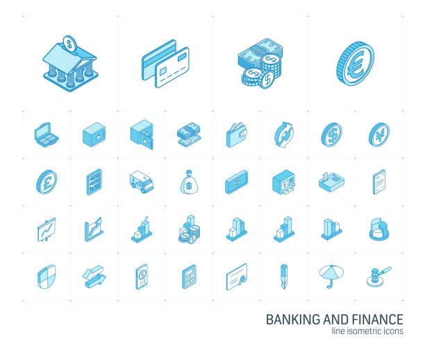 banken- und finanz-isometrische liniensymbole. 3d-vektor - isometric icons stock-grafiken, -clipart, -cartoons und -symbole