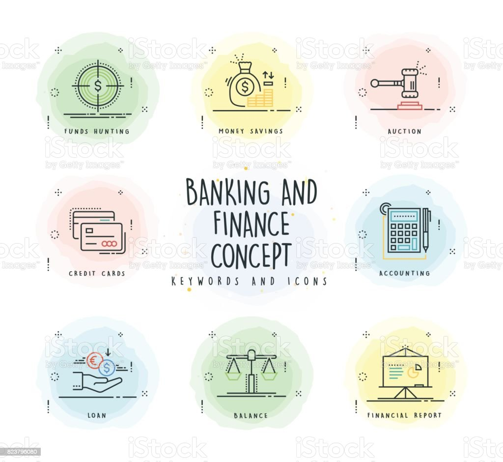 Banking and Finance Line Icon Set with Watercolor Patch vector art illustration