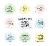 Banking and Finance Line Icon Set with Watercolor Patch
