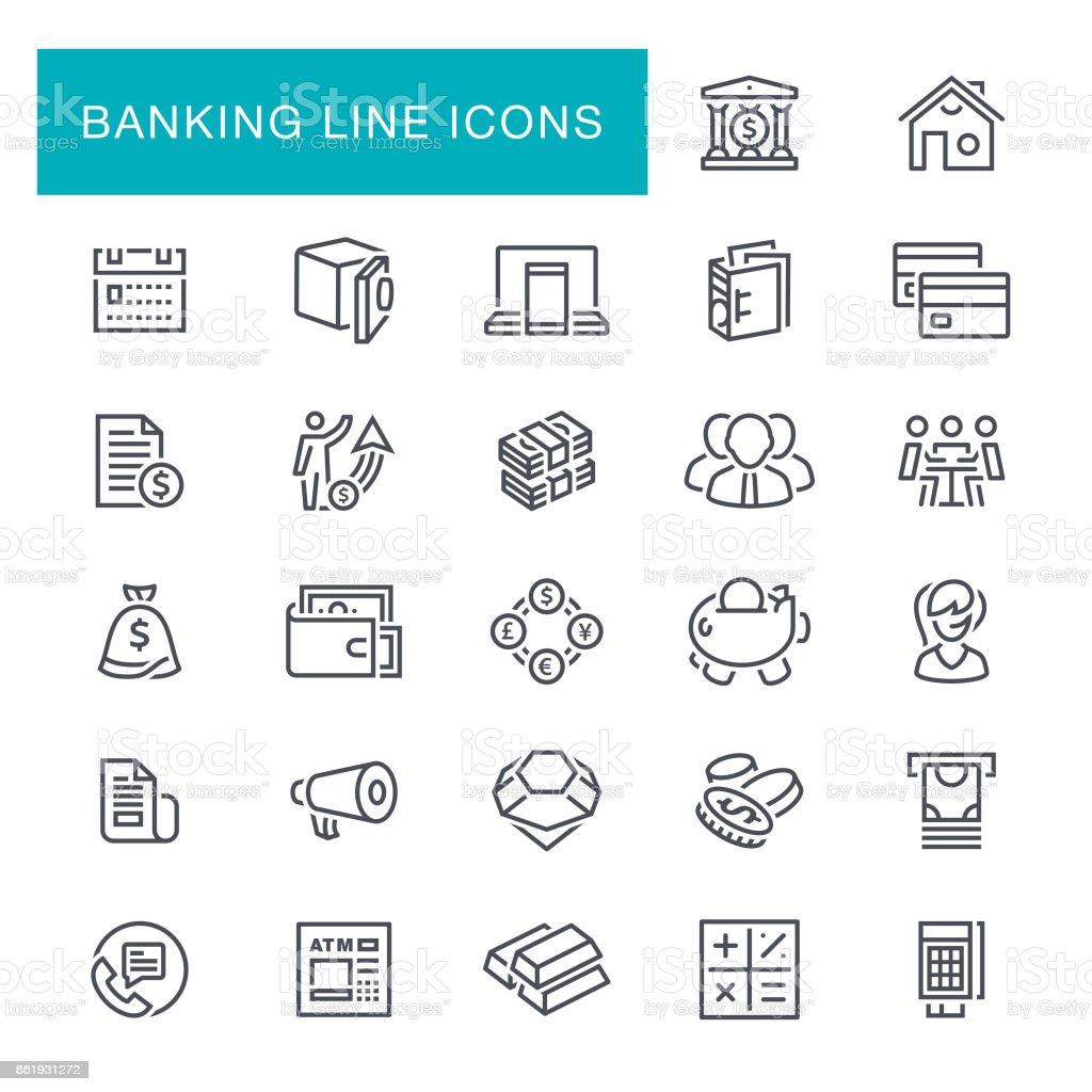 Banking and Finance Line Icons vector art illustration