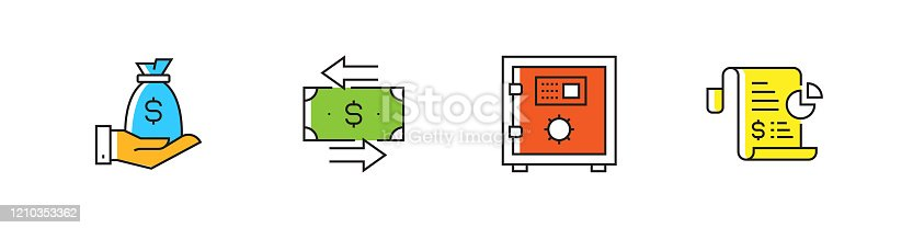 Banking and Finance Related Vector Flat Line Icons. Outline Symbol Collection.