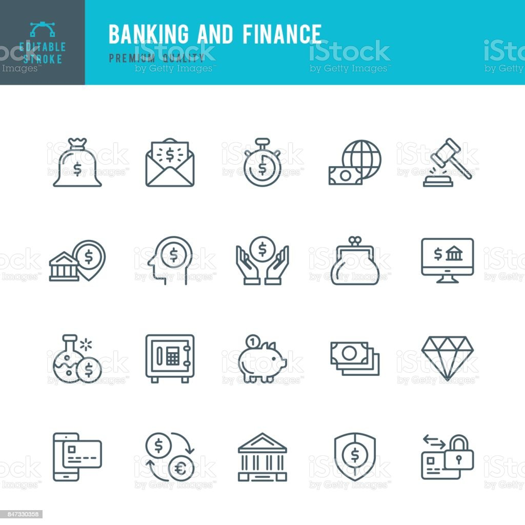 Banques / Finance - Thin Line Icon Set - Illustration vectorielle