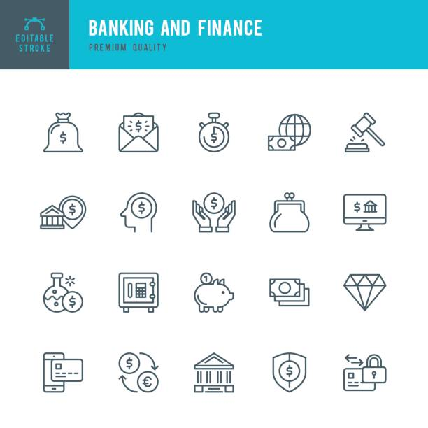 Banking and Finance  - Thin Line Icon Set Set of Banking and Finance thin line vector icons. bank stock illustrations